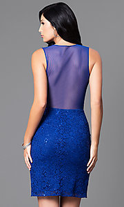 Image of royal blue short lace sheer-back party dress.  Style: MO-12274 Back Image