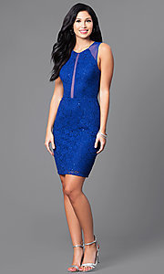 Image of royal blue short lace sheer-back party dress.  Style: MO-12274 Detail Image 1