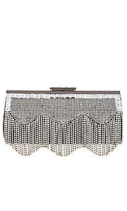 Black Crystal Fringe Clutch