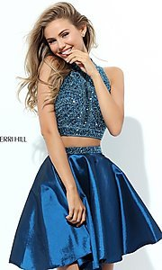 Image of sleeveless two-piece homecoming dress by Sherri Hill. Style: SH-50523 Front Image