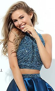 Image of sleeveless two-piece homecoming dress by Sherri Hill. Style: SH-50523 Detail Image 1