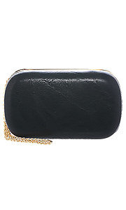 Faux Leather Zipper Clutch