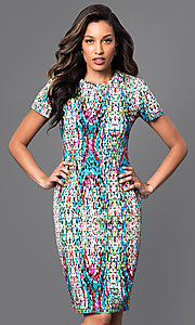 Print Short Sleeve Short Dress