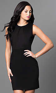 Classic Black Sleeveless Sheath Party Dress