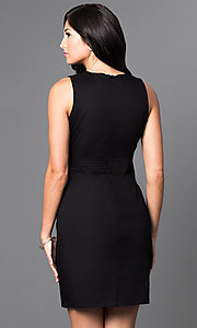 Image of classic black sleeveless sheath party dress. Style: AM-25105R361 Back Image