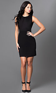 Image of classic black sleeveless sheath party dress. Style: AM-25105R361 Detail Image 1