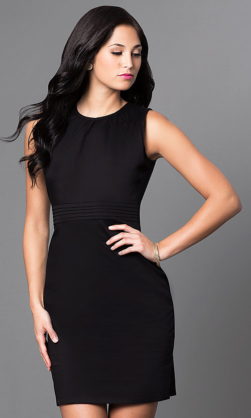 Image of classic black sleeveless sheath party dress. Style: AM-25105R361 Front Image