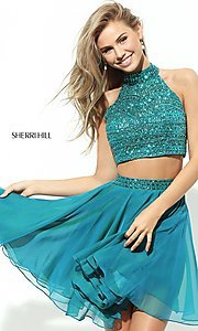 Sherri Hill two-piece party dress with beaded top.  Style: SH-50694 Detail Image 1