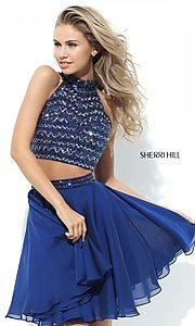 Sherri Hill two-piece party dress with beaded top.  Style: SH-50694 Front Image