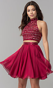 Sherri Hill two-piece party dress with beaded top.  Style: SH-50694 Detail Image 3