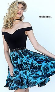 Black and Aqua Print Dress