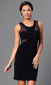 Image of short black party dress with sheer-illusion cut outs. Style: MO-12232 Front Image