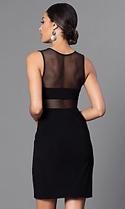 Image of short black party dress with sheer-illusion cut outs. Style: MO-12232 Back Image