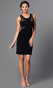 Image of short black party dress with sheer-illusion cut outs. Style: MO-12232 Detail Image 1