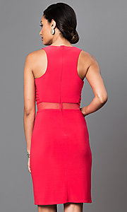 Image of short sleeveless dress with sheer waist. Style: MO-12225 Back Image