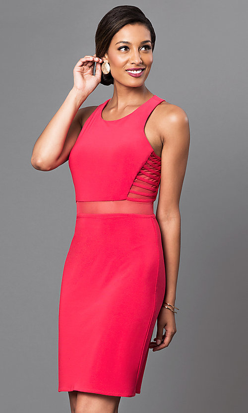 Image of short sleeveless dress with sheer waist. Style: MO-12225 Front Image