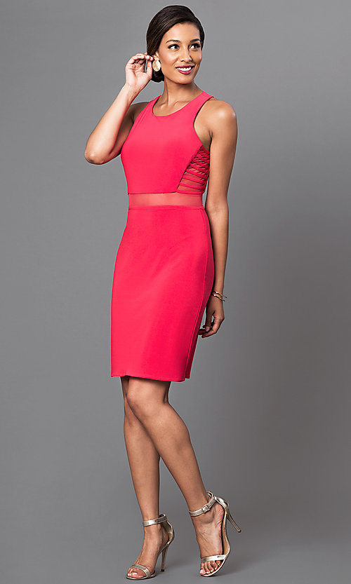 Image of short sleeveless dress with sheer waist. Style: MO-12225 Detail Image 1