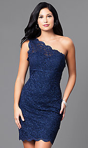 Image of navy blue one-shoulder glitter and lace dress. Style: MO-12120 Front Image