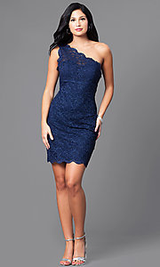 Image of navy blue one-shoulder glitter and lace dress. Style: MO-12120 Detail Image 1