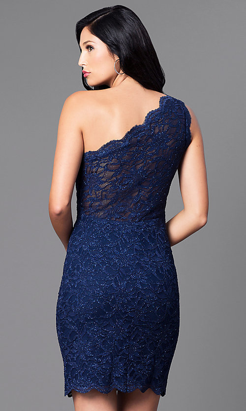 Image of navy blue one-shoulder glitter and lace dress. Style: MO-12120 Back Image
