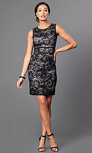 Image of empire-waist short lace party dress by Morgan. Style: MO-21456 Detail Image 1