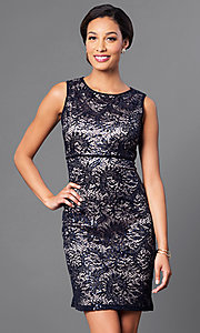 Image of empire-waist short lace party dress by Morgan. Style: MO-21456 Detail Image 2