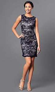 Image of empire-waist short lace party dress by Morgan. Style: MO-21456 Detail Image 3
