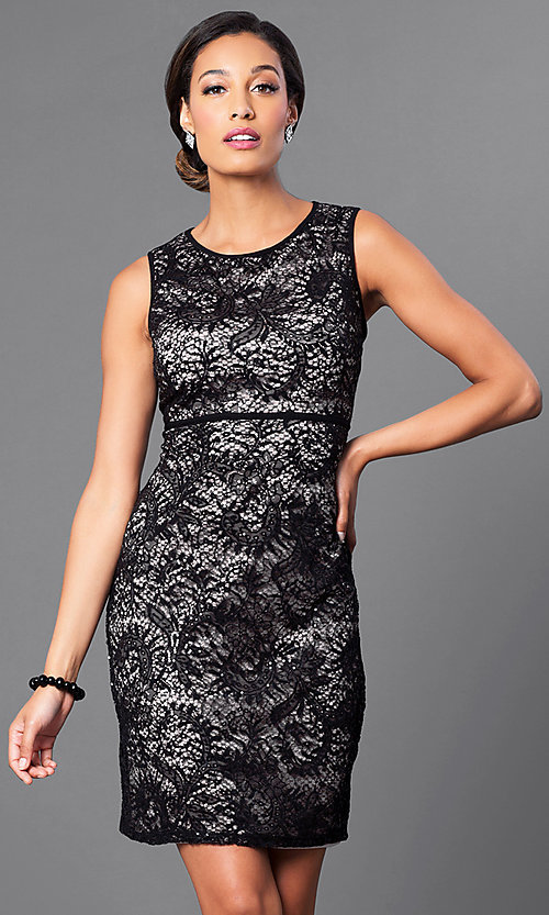 Image of empire-waist short lace party dress by Morgan. Style: MO-21456 Front Image