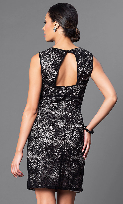 Image of empire-waist short lace party dress by Morgan. Style: MO-21456 Back Image
