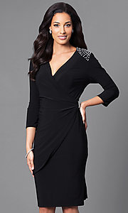 Image of knee-length 3/4 sleeve mock-wrap semi-formal dress. Style: MO-9928 Front Image
