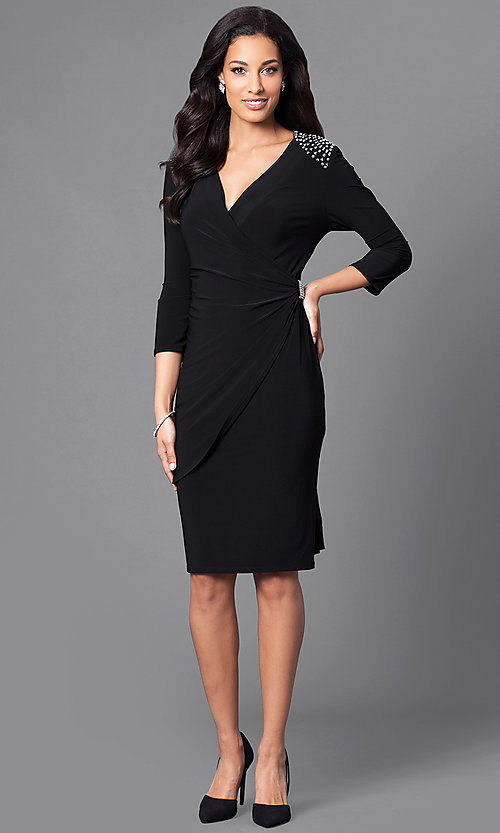 Short Black Wrap Party Dress with Sleeves -PromGirl
