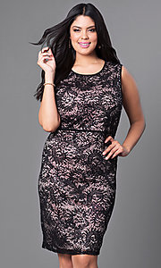 Image of knee-length plus-size lace homecoming dress. Style: MO-21456W Detail Image 2