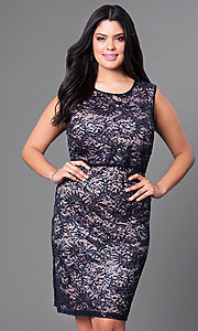 Image of knee-length plus-size lace homecoming dress. Style: MO-21456W Front Image