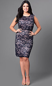 Image of knee-length plus-size lace homecoming dress. Style: MO-21456W Detail Image 1