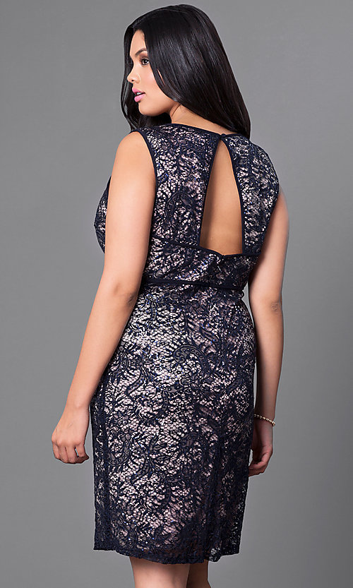 Image of knee-length plus-size lace homecoming dress. Style: MO-21456W Back Image