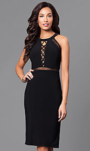 Black Knee-Length Party Dress with Sheer Waist