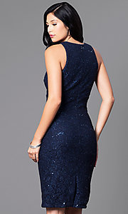 Image of navy blue knee-length glitter party dress. Style: MO-21485 Back Image