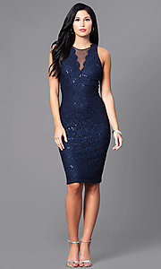 Image of navy blue knee-length glitter party dress. Style: MO-21485 Detail Image 1