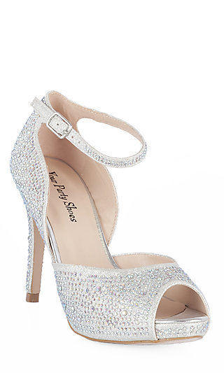 Silver Shoes For Prom Low Heels