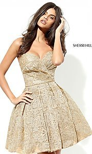 Gold Strapless Lace Homecoming Dress