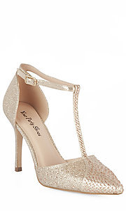 Nude Closed Toe T-Strap Prom Shoes