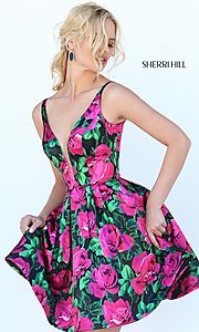 V-Neck Print Sherri Hill Homecoming Dress