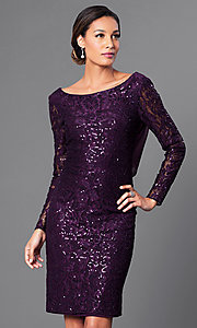 Plum Purple Long Sleeve Knee Length Lace Dress