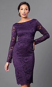 Long Sleeve Knee Length Lace Dress