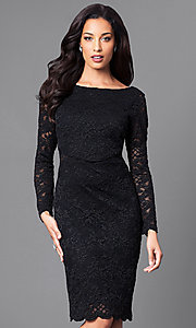 Image of knee-length black lace party dress with long sleeves. Style: JU-ON-648734 Front Image