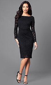 Image of knee-length black lace party dress with long sleeves. Style: JU-ON-648734 Detail Image 1