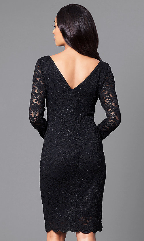 Image of knee-length black lace party dress with long sleeves. Style: JU-ON-648734 Back Image