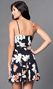 Image of black floral-print short spaghetti-strap casual dress. Style: AC-DE22159R Back Image