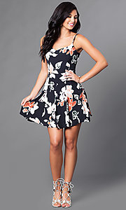Image of black floral-print short spaghetti-strap casual dress. Style: AC-DE22159R Detail Image 1