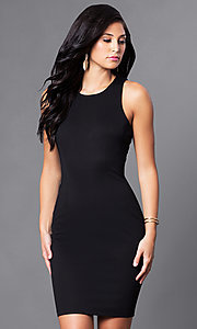 Image of short black homecoming dress with back cut outs. Style: AC-DX22076B Back Image